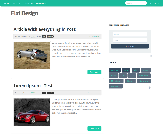 Flat Design Blogger Template  Flatly