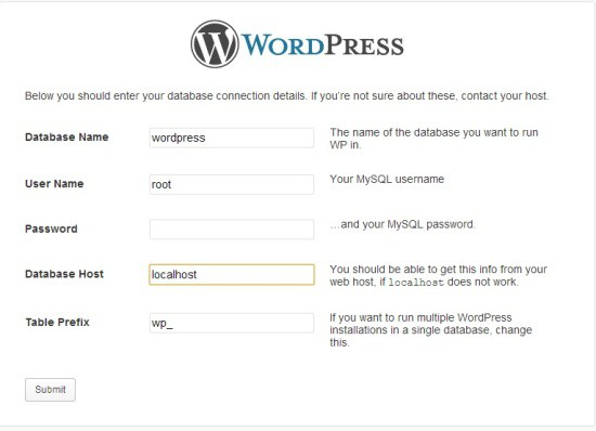 WordPress Database Details