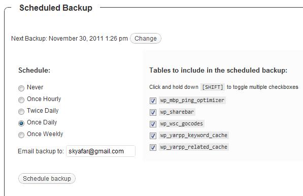 backup plugin screen shot